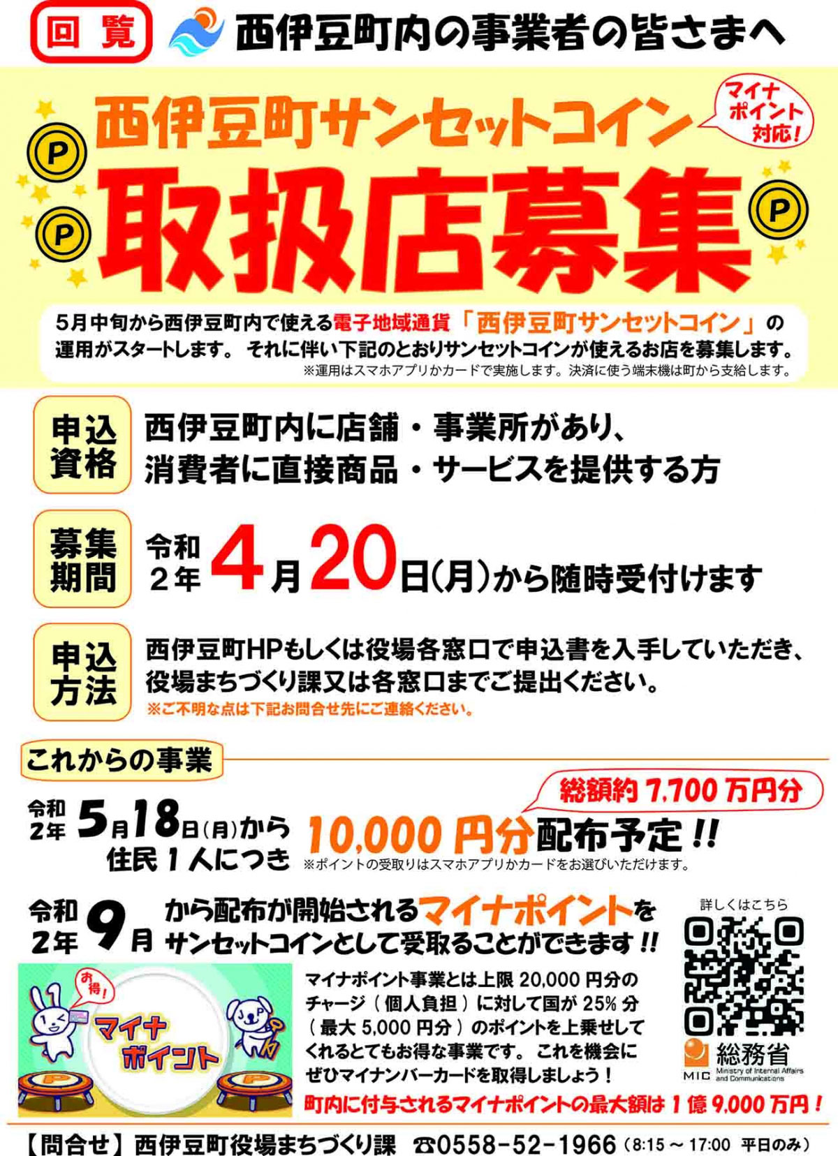 西伊豆町サンセットコイン取扱店募集チラシ